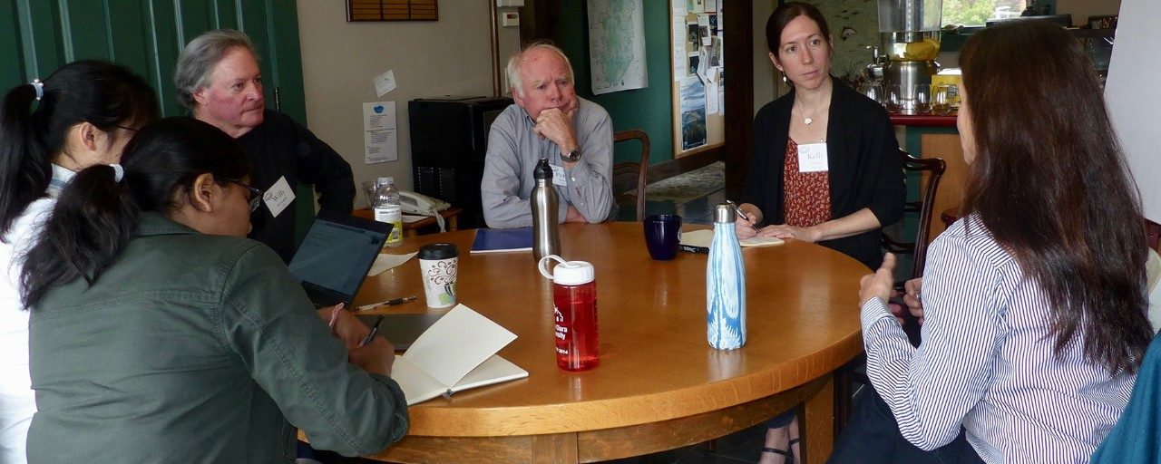 Members of the Lake Sunapee Protective Association share their thoughts and questions about the economics behind people's relationships with lakes, which Professor Kelly Cobourn models through her work on the CNH Lakes project. Photo by Midge Eliassen.
